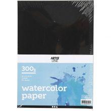 Akvarellpapir A4 / 300 gr. - Sort, 10 ark