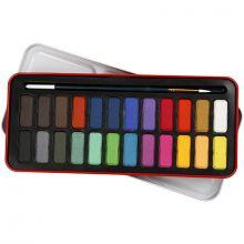 Akvarellsett inkl. pensel, 24 farger