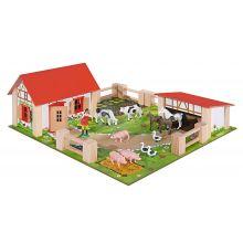 Bondegård med dyr og tilbehør, 21 deler