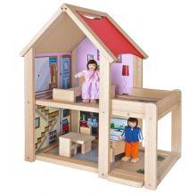 Dukkehus i bøketre inkl. dukker og møbler