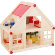 Dukkehus i tre med møbler