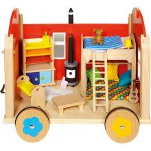 Dukkehus på hjul med tilbehør, 24 deler