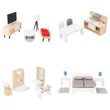 Dukkehus tilbehør - Møbelsett til 4 rom