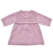 Dukketøy - Strikket kjole, plommefarget Flere str