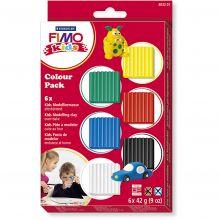 FIMO leire 42 gr. - Basisfarger, 6 stk