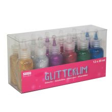 Glitterlim 12 stk. i flaske m/ tegnespiss