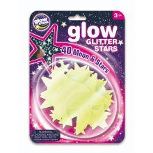 Glow - Stjerner m. glitter, 40 deler