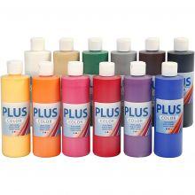 Hobbymaling 250 ml. - Basisfarger, 12 stk