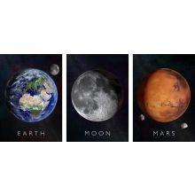Interaktive plakater 3-i-1 - Jorden, Månen & Mars