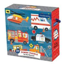 KJEMPE puslespill - Redningskjøretøy, 25 brikker
