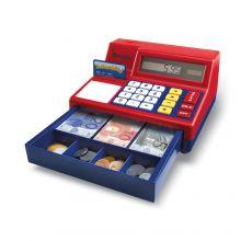 Kasseapparat med kalkulator og penger