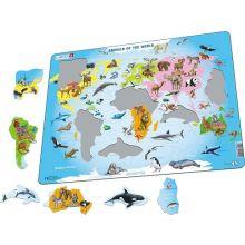 Larsen puslespill - Verdens dyr, 28 brikker