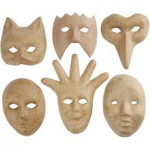 Masker i pappmaché, 6 stk