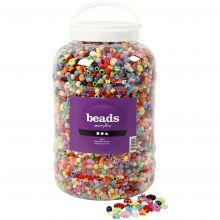 Plastperler i spand - Ass. farver, ca. 8.100 stk