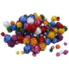 Pomponger m. glitter, 62 gr.