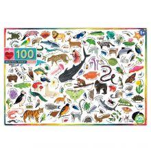 Puslespill med 100 brk. - Dyr i verden
