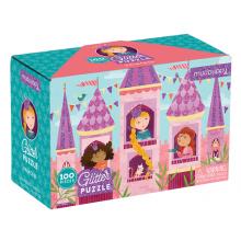 Puslespill med glitter, 100 brikker - Prinsesser