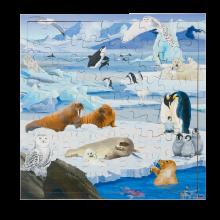 Interaktivt puslespill m. 81 brikker - Polardyr