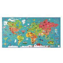 Puslespill til gulv - Verdenskort, 150 brikker