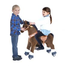 Ri Selv - Hest, mørkebrun m. hvitt bliss, Small