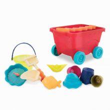 Sandlek - Vogn med 10 deler - Rød