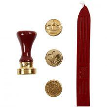 Forseglingssett m. stempel og lakk - Rød, Ø18 mm