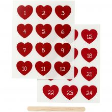 Klistremerker til tekstilpynt - Kalendertall, røde
