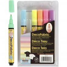 Tekstiltusjer - Neonfarger, 6 stk
