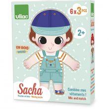 Trepuslespill - Ta klær på Sacha, 6 x 3 brikker