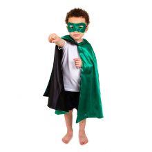 Udklædning - Vendbar kappe, Grøn/sort superhelt