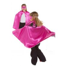 Utkledning - Vennbar kappe, Pink/sølv superhelt