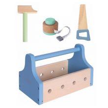 Værktøjskasse i træ m. indhold