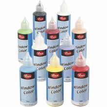 Vindusmaling 80 ml. - Basisfarger, 10 stk